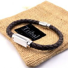 Personalised Engraved Tribal Steel Leather Bracelet
